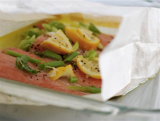 lemon & spring onion parchment salmon