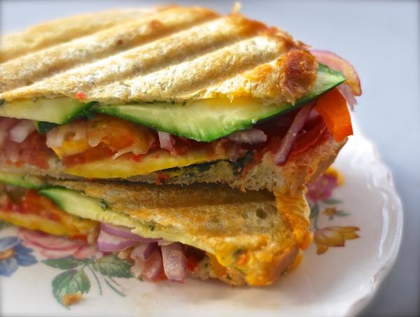veggie jack panini melt sandwich with fresh basil pesto | ChinDeep
