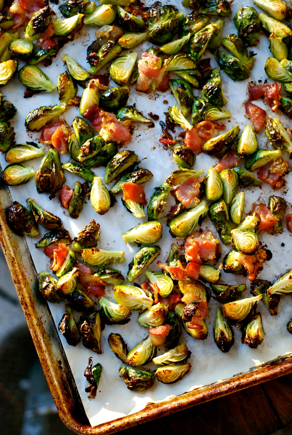 how to cook brussel sprouts in the oven with bacon