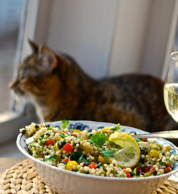 israeli pearl couscous & veggie caper salad