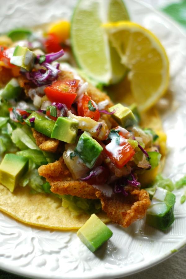 maui fish tacos with tropical salsa & pineapple crema