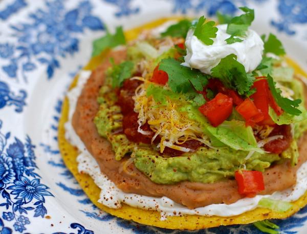 seven layer taco dip tostadas | ChinDeep