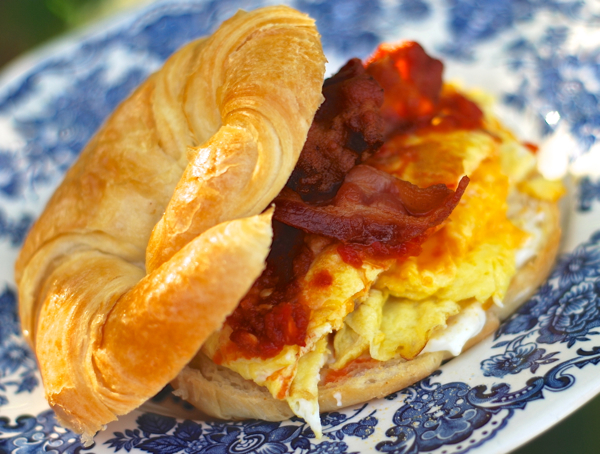 bacon egg & cheese breakfast croissant sandwich - ChinDeep