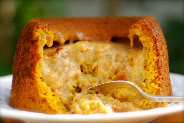 Warm Vanilla Pumpkin Pudding Cake